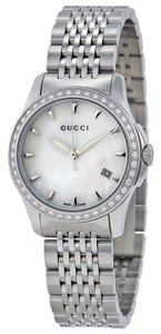 Gucci Mother of Pearl Dial Diamonds Bezel Silver Designer Watch