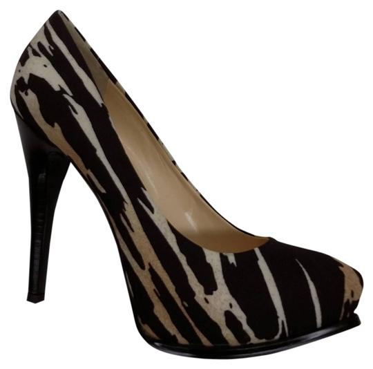 Guess Pump Brown Black Multi Animal Print Multi Color Platforms