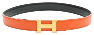 Hermès Hermes Constance Reversible Orange/Green Gold H Buckle Belt 65