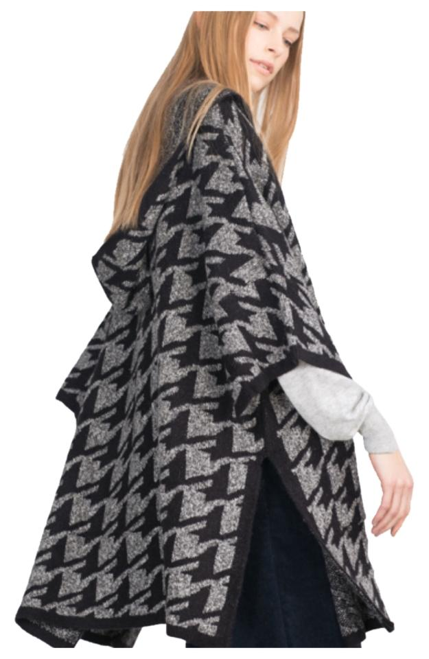 Zara Black and Gray Knit Collection Hooded Cardigan Poncho/Cape Size ...