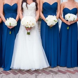 Allure Bridals Navy Chiffon Feminine Bridesmaid/Mob Dress Size 8 (M)