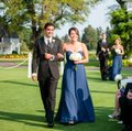 Allure Bridals Navy Chiffon Feminine Bridesmaid/Mob Dress Size 8 (M) Image 5
