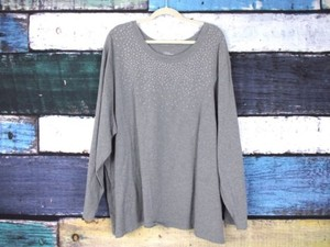 Other Liz Me Catherines Gold Rhinestone Bling Long Sleeve Tee 5x 3436w T Shirt Gray
