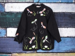Quacker Factory Qvc Dragonfly Embroidered Embellished Canvas 1x Black Jacket