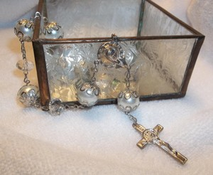 One Decade Pearl & Crystal Rosary