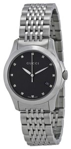 Gucci Black Dial Diamond Markers Silver tone Stainless Steel Designer Dress Watch