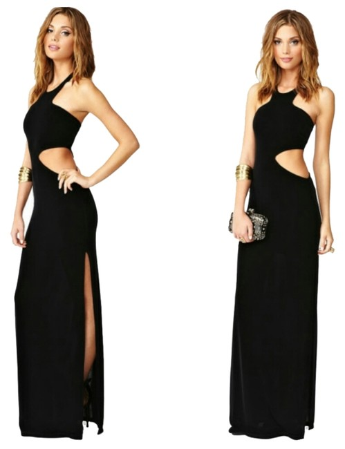 Item - Black Moonshadow Maxi Cut-out Long Night Out Dress Size 6 (S)