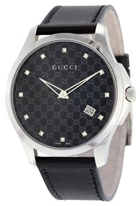 Gucci Black Leather Black GG Print Dial Diamond Markers Designer Dress Luxury Watch