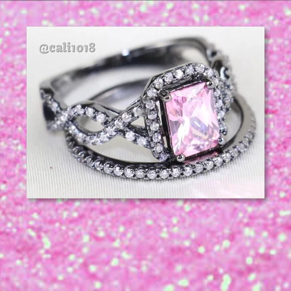 Pink Cz & Black Gf New Gold Filled 2pc Wedding Engagement 9 Ring ...