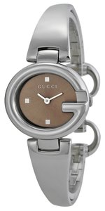 Gucci Brown Dial Silver tone Stainless Steel G Shpae Bezel Bangle Watch Designer Dress Watch