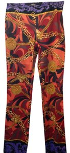 Versace Vintage Classic 1990's Medusa Iconic Boot Cut Pants orange, tangerine, purple, gold