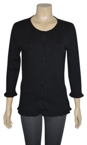 Liz Lange Maternity for Target Liz Lange Silk/Cashmere Black Ruffled Trim Jacket Size 2 On Sale