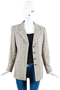 Chanel Black White Tweed Long Sleeve Button Down Beige Jacket