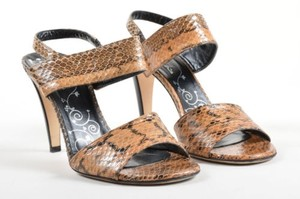 Tibi Taupe Black Leather Snakeskin Embossed Strappy High Heel Tan Sandals