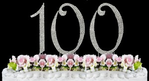 Silver Rhinestone 100 Cake Toppers