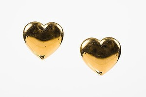 Givenchy Vintage Givenchy Gold Tone Heart Clip On Earrings