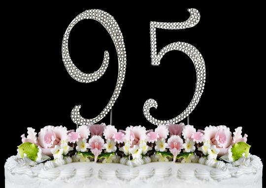 Silver Rhinestone 95 Cake Toppers