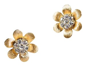 Trifari Vintage Trifari Gold Tone Flower Etched Rhinestone Embellished Clip On Earrings
