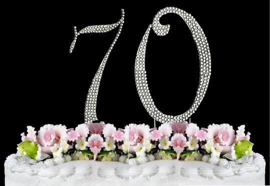 Silver Rhinestone 70 Cake Toppers