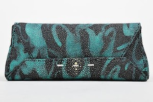 VBH Black Teal Blue Stingray Multi-Color Clutch