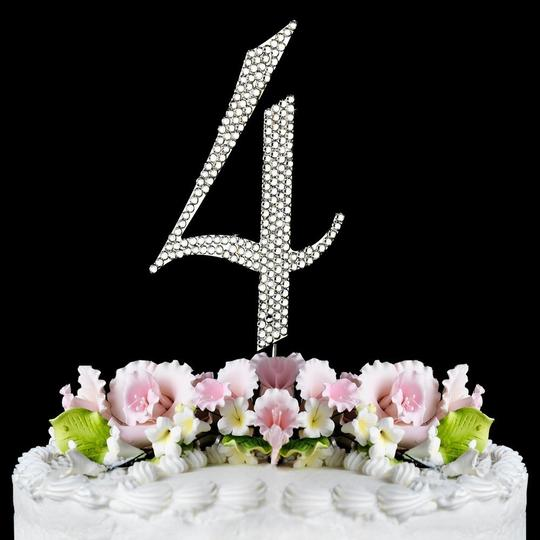 Silver Rhinestone 4 Cake Toppers