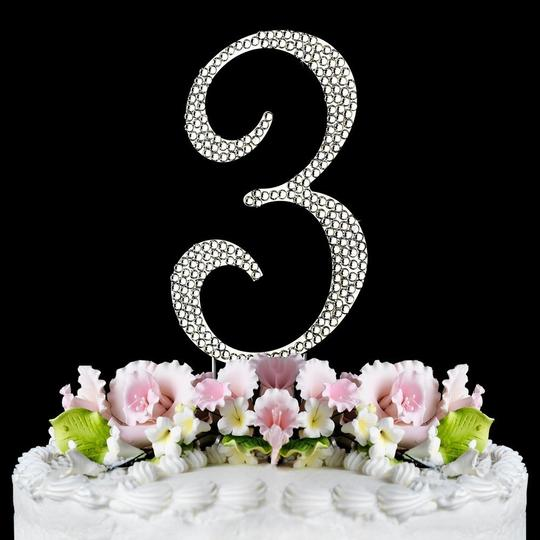 Silver Rhinestone Number 3 Cake Toppers