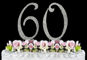 Silver Rhinestone 60 Cake Toppers