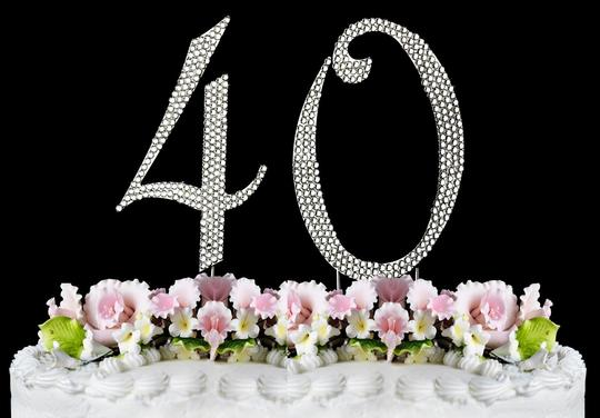 Silver Rhinestone 40 Cake Toppers