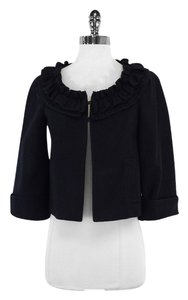 Nanette Lepore Navy Cotton Ruffly Jacket
