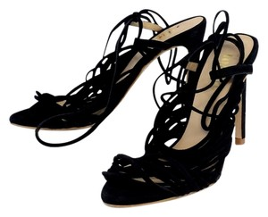 The Mode Collective Black Suede Strappy Heels Sandals