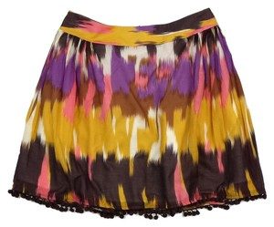 MILLY Silk Pom Pom Hem Skirt