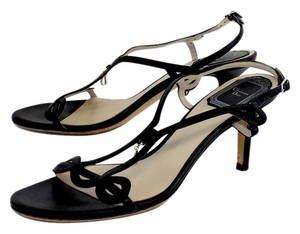 Dior Black Leather Double Strap Heels Heels Sandals