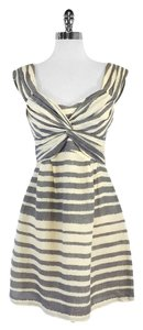 Nanette Lepore short dress Cream Grey Striped Silk & Linen on Tradesy