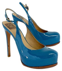 Pour La Victoire Blue Patent Leather Platform Pumps