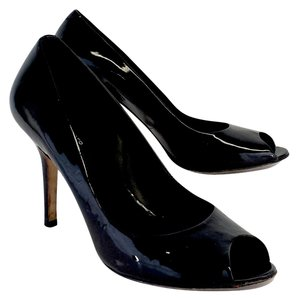 KG Kurt Geiger Black Patent Leather Peep Toe Pumps