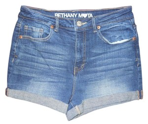 Bethany Mota for Aéropostale Stretch High Rise Cuffed Shorts blue
