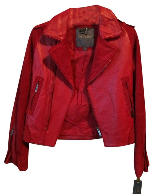Item - Red Leather Moto Jacket Size 4 (S)