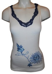 Cache Knit Lace Embroidered Top white, blue & navy