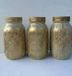 3 Hand Painted Ivory And Gold Lace Overlay Quart Size Mason Jars
