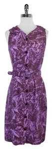 MILLY short dress Purple Print Silk Sleeveless on Tradesy