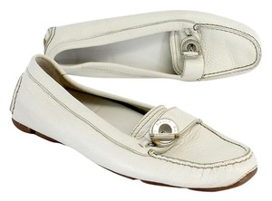 Bally White Leather Loafers Flats