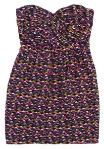 Shoshanna short dress Multi Color Print Silk Strapless on Tradesy