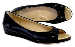 Bally Black Patent Leather Peep Toe Flats