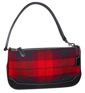 Coach Leather Plaid Wristlet Baguette