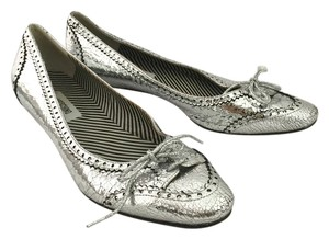 Moschino Leather Mod Silver Pumps