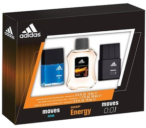 adidas NIB- ADIDAS Moves Him, Deep Energy & Moves 001 for Men 3 Piece EDT Gift Set