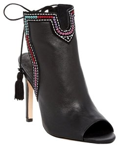 Twelfth St. by Cynthia Vincent Leather Bootie Peep Toe Black Sandals