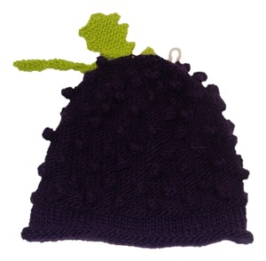 7a009373175 Urban Outfitters Urban Outfitters Knitted Crocheted Bunch of Grapes Fruit  Styled Slouchy Beanie Hat Purple Green