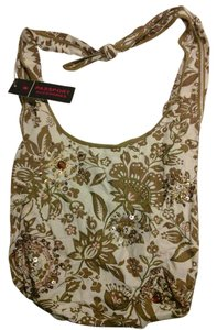 Other Bohemian Sling Hippie Chic Brown White Sequin Gemstone Embroidered Cool Shoulder Bag