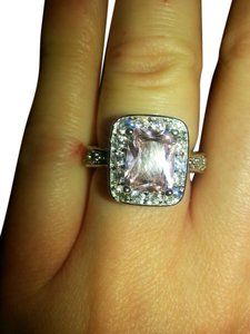 9.2.5 Beautiful pink and white topaz square cocktail ring size 7